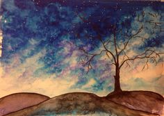 """""""into the night"""" • water-soluble markers/mixed media 9 x 12"""