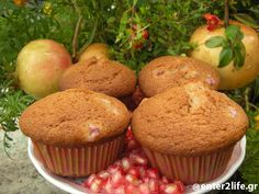 Muffins με Ρόδι  www.enter2life.gr Allrecipes, Muffins, Cupcake, Brunch, Breakfast, Food, Morning Coffee, Muffin, Cupcakes
