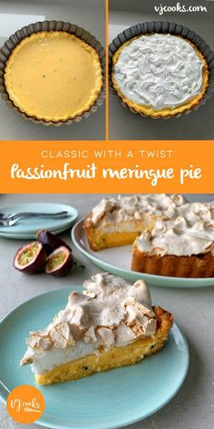 Easy bake passionfruit meringue pie - recipe by VJ cooks Passionfruit Recipes, Tart Recipes, Gourmet Recipes, Dessert Recipes, Gourmet Foods, Baking Desserts, Sauce Recipes, Cookie Recipes, Sweets