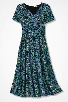 Scattered Dots Fit-and-Flare Dress - Coldwater Creek