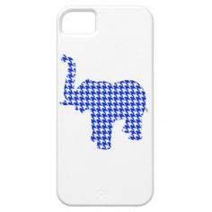 Blue Houndstooth Elephant iPhone 5 Cases