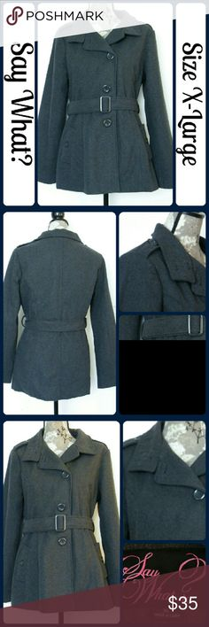 "Sz XL Peacoat by Say What? Excellent Condition, worn once, Dark grey, 95% Polyester, 5% Wool ...machine wash, hang dry| Measurements, flat and not stretched | Chest - 21"" across from underarm to underarm 