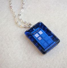 Doctor Who Tardis Glass Tile necklace 0.75x1 by SutherlandsJewelry, $9.95