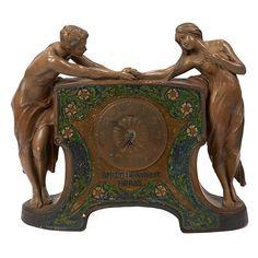 "✨  Emmanuel Joseph Louis Simon (1873-1932) for Friedrich Goldscheider, Art Nouveau mantel clock, Austria, glazed ceramic, mosaic, brass, impressed marks, H&H French Movement, 24.5""w x 6""d x 20.25""h"