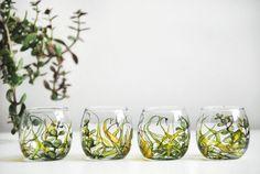 Prêt à expédier - main peint rond verre votif - Collection de champs d'herbe