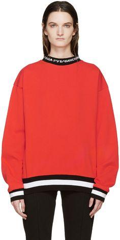 Gosha Rubchinskiy Red Logo Collar Pullover