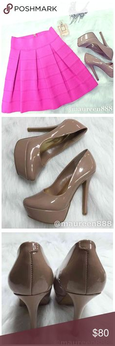 "Jessica Simpson Waleo Patent Leather Platform Pump BNIB Jessica Simpson Waleo Platform Pumps. Size: 5. Color: Nude. Material: Patent Leather. 5.5"" Heel, 1.5"" Platform. Box included. Jessica Simpson Shoes Platforms"