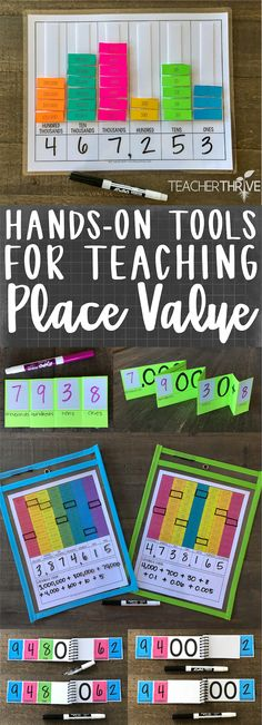 Activities for Teaching Place Value Several activities for teaching whole number and decimal place value.Several activities for teaching whole number and decimal place value. Fun Math, Math Games, Math Activities, Place Value Activities, Maths Resources, Math Art, Hands On Activities, Teaching Place Values, Teaching Math