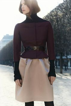 Dior - Burgundy stretch wool satin jacket. Black cashmere and silk knitted turtleneck sweater. Dusty beige double face silk leather satin tulip skirt.