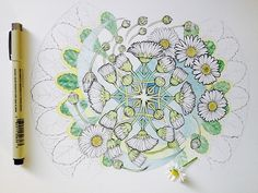 Daisy Vortex, more progress Embroidery Motifs, Mandala Drawing, Mandala Pattern, Art Journal Inspiration, Watercolor Flowers, Art Boards, Art Projects, Diy, Drawings