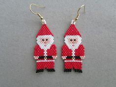 Santa Claus Gnome Beaded Earrings by DsBeadedCrochetedEtc on Etsy