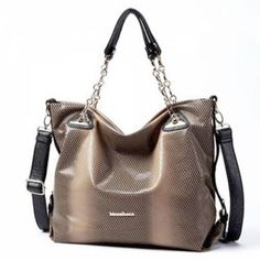 Serpentine Word Aluminum Chain Bag - This PU leather has 6 pockets, portable backpack way, which will create an eye - catching visual effect. Visual Effects, Cool Things To Buy, Stuff To Buy, Hand Bags, Valentine Day Gifts, Pu Leather, Internet, Backpacks, Pockets