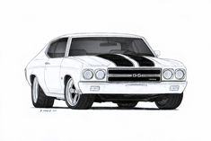 1970 Chevrolet Chevelle SS Pro Touring Drawing by Vertualissimo.deviantart.com on @deviantART