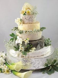 LOVE this cheese wheel cake! Great savory alternative or addition! Wedding Cakes Made Of Cheese, Wedding Cakes With Cupcakes, Cupcake Cakes, Cake Wedding, Party Cakes, Cakes To Make, How To Make Cake, Take The Cake, Love Cake