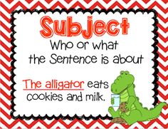 Subject and predicate, Subject & predicate, grammar gator, lesson plan, anchor c. Sentence Anchor Chart, Sentence Strips, Anchor Charts, Subject And Predicate, Subject And Verb, Compound Subject, New Vocabulary Words, Subject Verb Agreement, 1st Grade Writing
