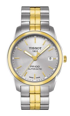 e0566b78419 A shining example of self-winding excellence Tissot s PR 100 watch isa  double threat of casual and dress styling. Crafted of two tonestainless  steel ...