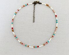 Long Beaded Necklace - Long and Colorful Beaded Necklace - Wrap Bracelet - Neaptide - Turquoise - Orange - Silver - Neaptide Seed Bead Necklace, Seed Bead Jewelry, Diy Necklace, Cute Jewelry, Beaded Jewelry, Jewelry Necklaces, Handmade Jewelry, Beaded Bracelets, Diy Jewelry