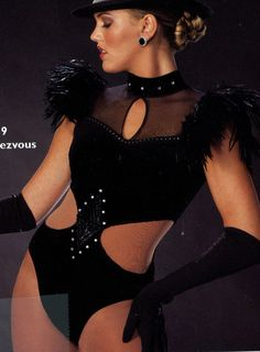 Rendezvous Black Leotard Dance Costume Jazz Tap Modern w/ Rhinestone