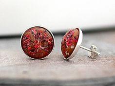 STERLING Real Flower Stud Earrings - red