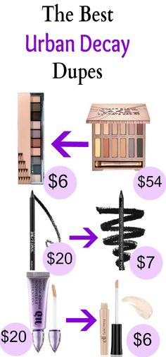 These Urban Decay dupes are amazing! Great makeup dupes that are more better for your budget. Find great eyeshadows, lipstick, foundation, palletes, and more! #makeup #dupes #urbandecay