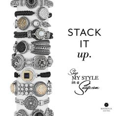 Go CRAZY and stack to your heart's content with Magnolia and Vine's Bracelets with interchangeable SNAPS! available at MyStyleInASnap.com