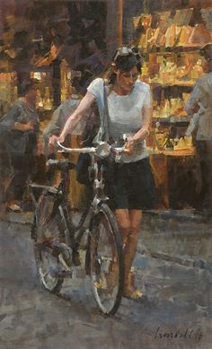"Lady Walking a Bicycle (study) by James Crandall Oil ~ 24.25"" x 14.75"""