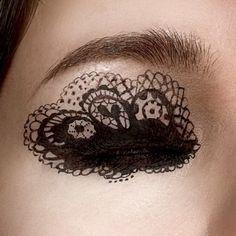 Lace eye makeup.