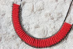 Red and Silver Safety Pin Necklace