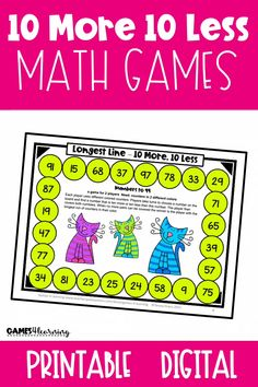 These games review the place value concept of 10 more and 10 less, and 1 more and 1 less. Students find and cover pairs of 2 digit numbers that are 10 more or less or 1 more or less. While they play, they attempt to make the longest line of counters in their color. 2 games review 1 more and 1 less These are games for 2 players. These games come in 2 different versions - printable board games and digital games. Great 1st grade place value activity for the classroom, home or homeschool. Math Board Games, Printable Board Games, Printable Numbers, Math Games, Place Value Games, Place Value Activities, Place Value Worksheets, Teaching Place Values, Flip Cards