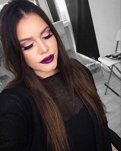 Make up purple colors lips eyeshadow eyelashes eyeliner Ombré black evening occasional women's