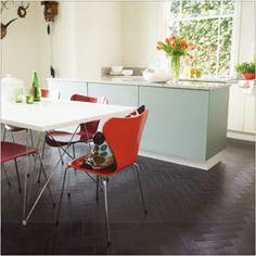 Black Oak #Parquet looks fab against light blues and orange tones in this retro kitchen.