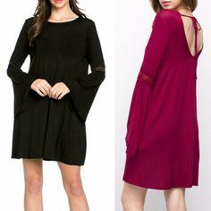 Boho Babe Long Bell Sleeve Tie Back Flowy Dress Solid Black or Burgundy Knit S-L #Mittoshop #FlowyBellSleeveDressShiftSwingDressTieBackDress #Casual