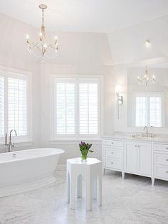 too white! Nickel and Beaded Chandelier Over Tub, Transitional, Bathroom, Benjamin Moore Paper White White Bathroom Tiles, Bathroom Layout, Bathroom Colors, Bathroom Flooring, Master Bathroom, White Tiles, Family Bathroom, Bathroom Cabinets, Painted Chandelier