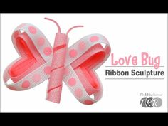 Ribbon sculptures are cute to look at and so fun to make! They are perfect for holidays and this Bug Ribbon Sculpture is just in time for Valentine's Day! Ribbon Hair Bows, Diy Hair Bows, Diy Bow, Ribbon Flower, Ladybug Rocks, Ribbon Retreat, Hair Bow Tutorial, Flower Tutorial, Rainbow Loom Charms