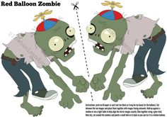PvZ party decoration - floating zombie to attach to a red helium balloon