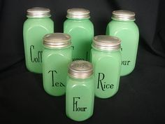 Herbs Crafts Gifts: 6 Hocking Glass Canisters 1940's