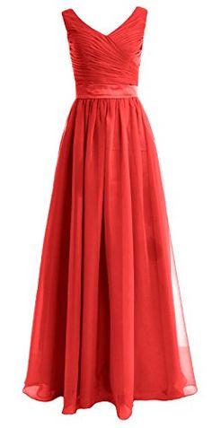 MACloth Women Straps V Neck Chiffon Long Bridesmaid Dress Wedding Party Gown (4, Red) >>> To view further for this item, visit the image link.