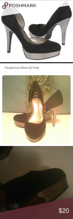 👠4.5 Inch Heels 👠 Chic Black Suede Pump With Silver 4.5 Inch Heel And 1 Inch Silver Platform In The Front. Sophisticated Cut Out On The Side. 👀👀 Theres a small smudge on the side as indicated in the photo👀👀 Fergalicious Shoes Heels