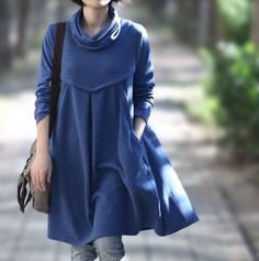 Romantic Cotton Long Maxi Dress/ Women Piles collar Long by MaLieb Casual Coats For Women, Winter Maxi, Large Size Clothing, Inspiration Mode, Couture, Fashion Over 40, Look Chic, Casual Looks, Cool Outfits