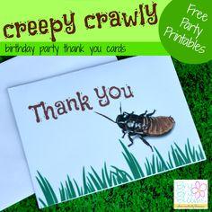 Creepy Crawly Birthday Thank You Cards {free printable} | Brie Brie Blooms #freeprintable #free #creepycrawlyparty