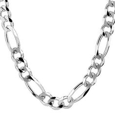 "Sterling Silver Figaro Chain for Men Great necklace to wear by itself or with pendant. Use as a spare or replacement necklace chain. 20"" - 34"" Silver 925 Figaro 3+1 Chain Necklace for BIG Men."