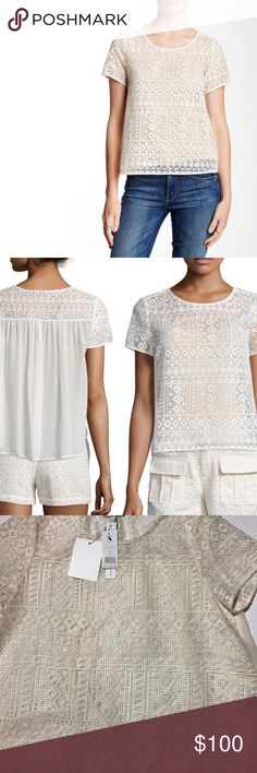 JOIE Sevan Geometric Lace Top NWT S Allover geometric lace top is equal parts feminine and bohemian. Features boxy silhouette, crew neckline and contrasting georgette panel. Antique white. Size Small. You would need to wear a tank or bralette which is not included. Thanks! Joie Tops Blouses