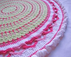CROCHET PATTERN - Baby Love - a round baby blanket with linked hearts and a ruffled edge - Instant PDF Download
