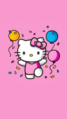 Pink Kitty Wallpaper, Funny Iphone Wallpaper, Cartoon Wallpaper, Hello Kitty Theme Party, Hello Kitty Themes, Hello Kitty Birthday, Hello Kitty My Melody, Sanrio Hello Kitty, Kawaii