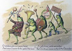 A Christmas card design by Louis Prang, with a parade of musical frogs - Behold These Seasonally Confused Holiday Cards from the Victorian Era