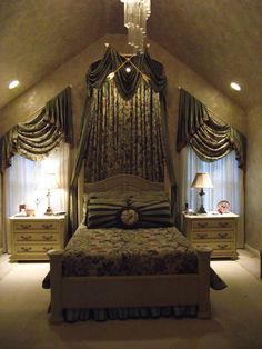 Custom Canopy Bed guest room bay window seat and half tester canopy bed | windows