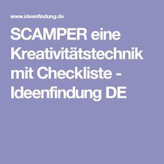 SCAMPER eine Kreativitätstechnik mit Checkliste - Ideenfindung DE