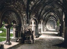 St. Bavon Abbey, the cloister, Ghent, Belgium | Photochrome print made between 1890 and 1900 (via)