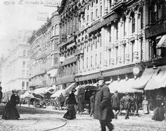 Mandel Brothers Department Store, State and Madison, 1885, Chicago. Mandel Bros was founded in 1855. Older Chicagoans will remember that this store still existed into the mid-1970s until it closed amidst the decline of the State St. shopping district.