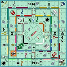 Ultimate Monopoly: a mash up of Monopoly (middle board), Super Add-On Monopoly (inner board) and Monopoly: Mega Edition (outer board). Monopoly Board, Monopoly Game, Backyard Games, Outdoor Games, Harry Potter Monopoly, Monopole, Printable Board Games, Diy Games, Free Games